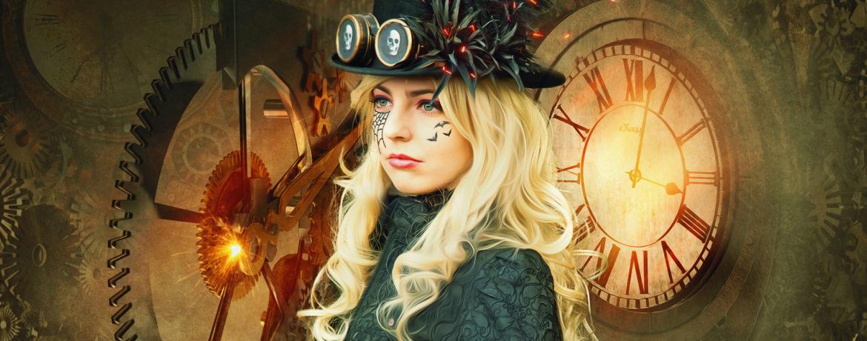 Steampunk-Schönheit-mit-Zylinder und Goggles